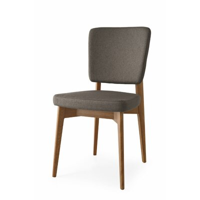 Escudo Upholstered Wooden Side Chair Finish: Walnut, Upholstery: Taupe