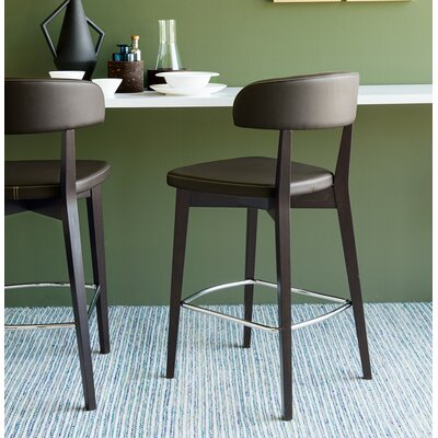 Siren Wooden Bar Stool Finish: Wenge, Upholstery: Moka