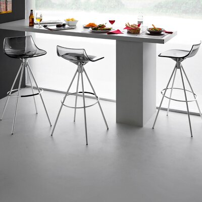 Led Bar Stool Finish: Satin Steel / Smoke Gray