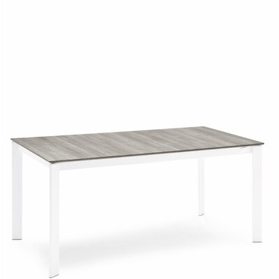 Eminence Metal Legs Extendable Dining Table Base Finish: Optic White, Top Finish: Gray Oak, Size: 30 H x 63 W x 35.5 D
