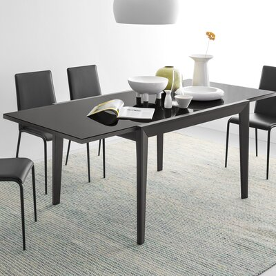 Abaco Extendable Dining Table Base Finish: Walnut, Top Finish: Frosted Black
