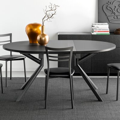 Giove Round Extendable Dining Table Base Finish: Matt Gray, Top Finish: Frosted Taupe