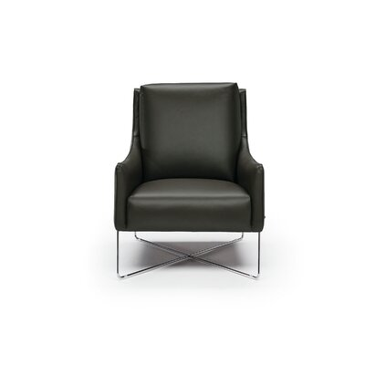 Vanessa Leather Armchair Upholstery: Gray