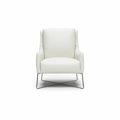 Vanessa Leather Armchair Upholstery: White