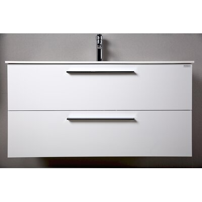 Raevon 40 Single Bathroom Vanity with Mirror Base Finish: Glossy White