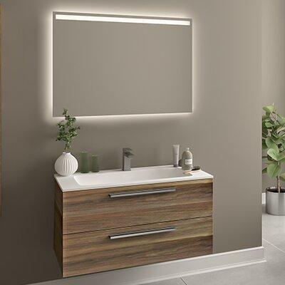 Raevon 40 Single Bathroom Vanity with Mirror Base Finish: Matte Walnut