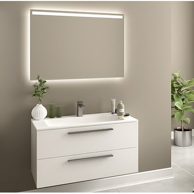 Raevon 40 Single Bathroom Vanity Set with Mirror Base Finish: UV Glossy White