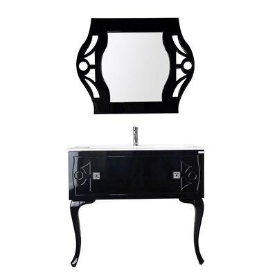 Nobles Swarovski 40 Single Bathroom Vanity Set with Mirror Base Finish: Black