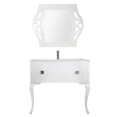 Nobles Swarovski 40 Single Bathroom Vanity Set with Mirror Base Finish: White
