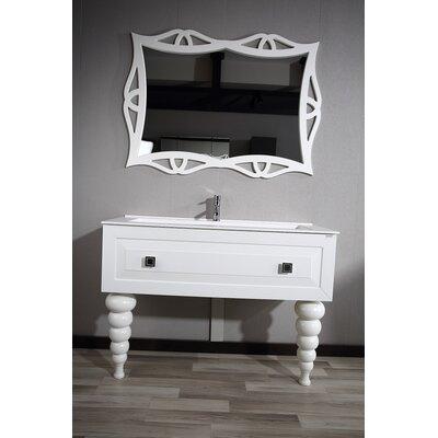 Noblitt Swarovski 48 Single Bathroom Vanity Set with Mirror Base Finish: Glossy White