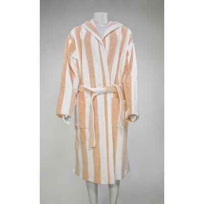 Authentic Turkish Hooded Bathrobe Color: Orange/White, Size: Large