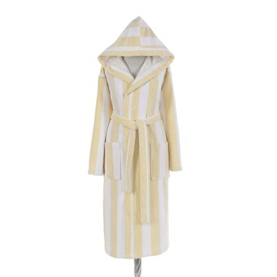 Authentic Turkish Hooded Bathrobe Size: Medium, Color: Yellow/White