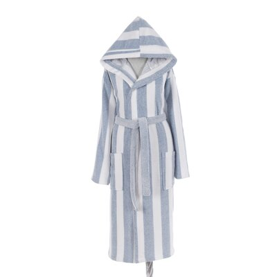 Authentic Turkish Hooded Bathrobe Size: Large, Color: Blue/White