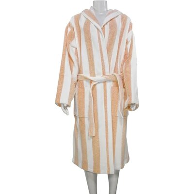 Authentic Turkish Hooded Bathrobe Size: Large, Color: Orange/White