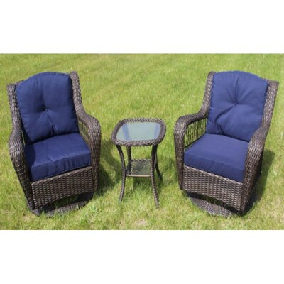 Herman Wicker Swivel Glider 3 Piece Seating Group with Cushion