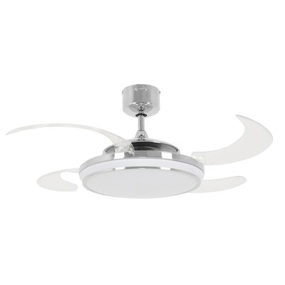 48 Evo1 Prevail 4 Blade Ceiling Fan with Remote Finish: Chrome