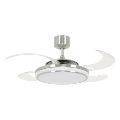 48 Levine 4 Blade Ceiling Fan with Remote Finish: Brushed Chrome