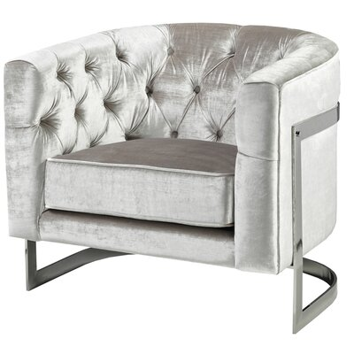 Stainless Steel Frame Tufted Barrel Chair Upholstery: Gray
