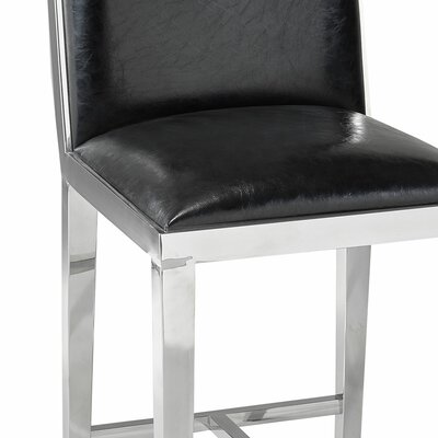 Kephart 29.3 Bar Stool Upholstery: Leather-Black