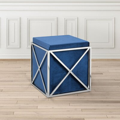 Phoenix Ottoman Upholstery: Blue, Finish: Steel
