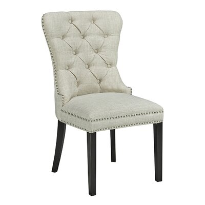 Aston Diamond Tufted Head Trim Dining Chair Color: Beige