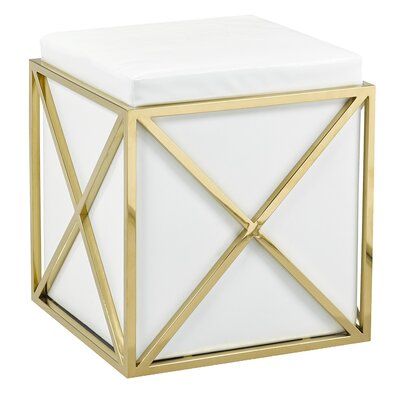 Phoenix Ottoman Upholstery: White, Finish: Gold