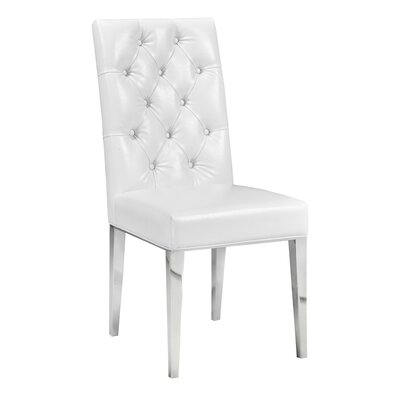 Maximus Modern Side Chair in Leather - White