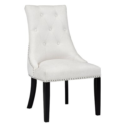 Lucas Button Tufted Nail Head Trim Side Chair Upholstery: Linen - Beige