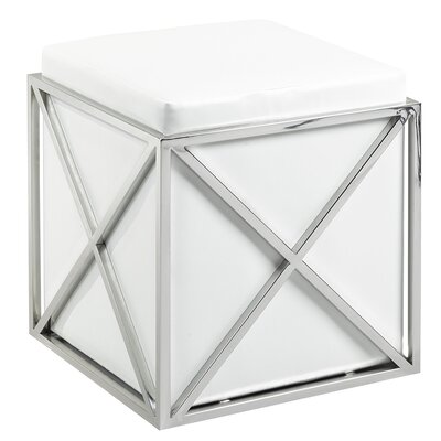 Phoenix Ottoman Upholstery: White, Finish: Steel