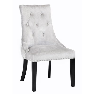 Lucas Button Tufted Nail Head Trim Side Chair Upholstery: Velvet - Gray
