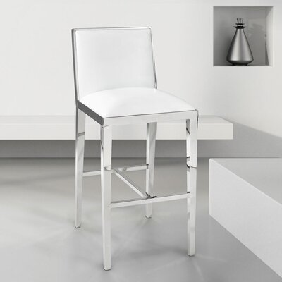 Castle Bar Stool Upholstery: Leather - White