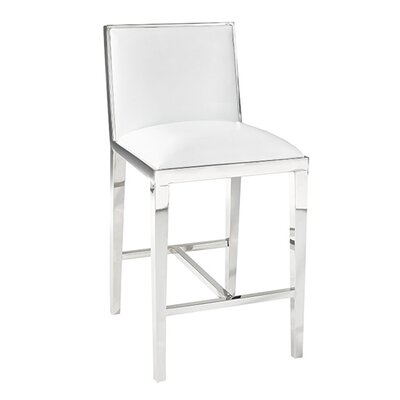 Kephart 25.5 Counter Bar Stool Upholstery: Leather-White
