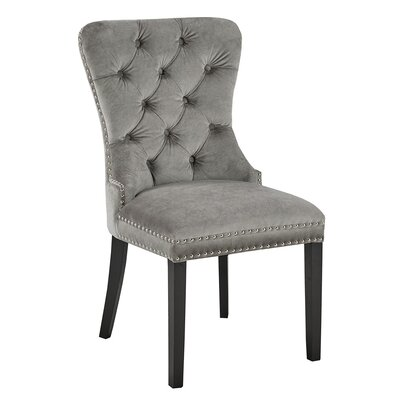 Aston Diamond Tufted Head Trim Dining Chair Color: Grey