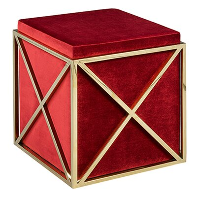 Phoenix Cube Ottoman Upholstery: Red