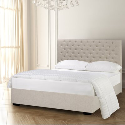 Carlo Diamond Tufted Upholstered Panel Bed Size: King, Color: Beige
