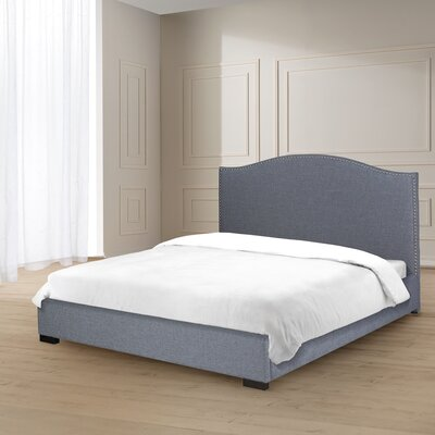 Mario Curved Nail Head Trim Linen Upholstered Panel Bed Size: King, Color: Slate