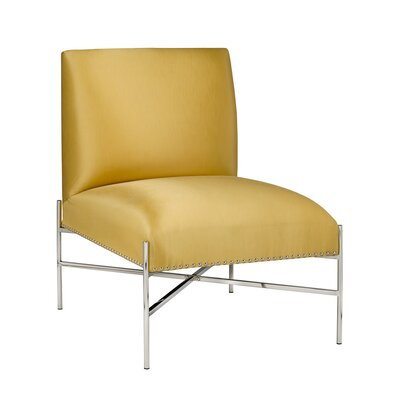 Les Studed Steel Lounge Chair Upholstery: Yellow Satin