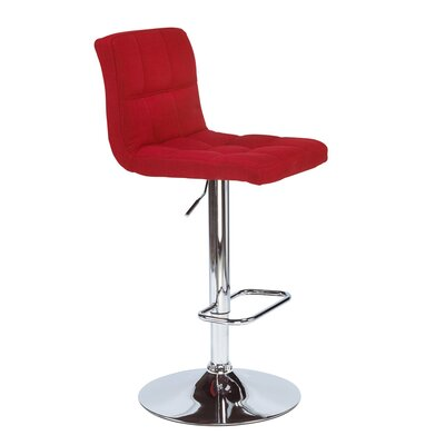 Alene Adjustable Height Swivel Bar Stool Upholstery: Red