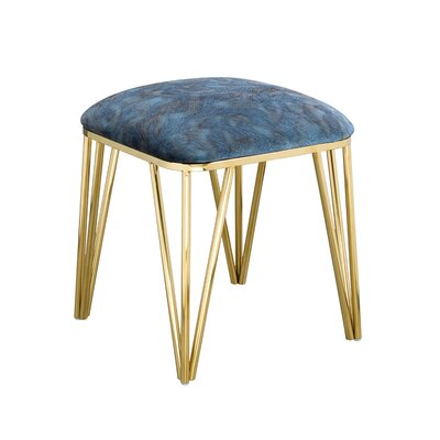 Jeanelle Polished Upholstered Steel Ottoman Finish: Gold Steel