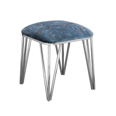 Jeanelle Polished Upholstered Steel Ottoman Finish: Stainless Steel