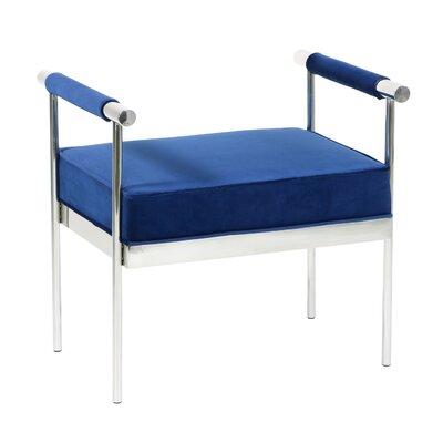 Edna Velvet Upholstered Polished Steel Ottoman Upholstery: Blue