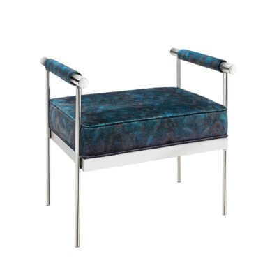 Edna Peacock Velvet Upholstered Polished Steel Ottoman