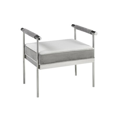 Edna Velvet Upholstered Polished Steel Ottoman Upholstery: Gray