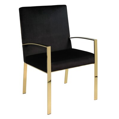 Almodovar Velvet Armed Accent Armchair Upholstery: Gold/Black, Finish: Gold