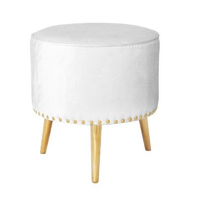 Alecia Modern Design Metal Frame Ottoman Finish: Gold, Upholstery: White