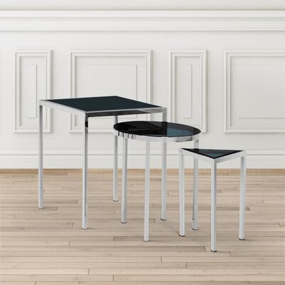 Almaraz Nesting Table Smoked Glass Color: Silver