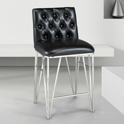 Edith Bar Stool Upholstery: Black