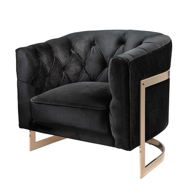 Botkin Frame Tufted Stainless Steel Barrel Chair Upholstery: Black, Finish: Steel