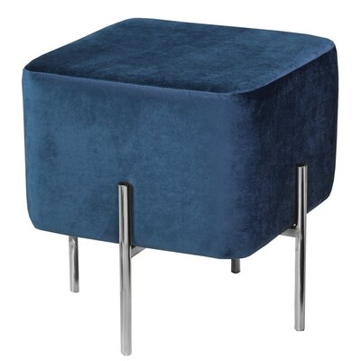 Britannia Square Ottoman Color: Blue/Silver
