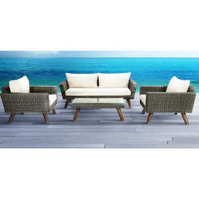 Vandyke Outdoor 4 Piece Conversation Set with Cushions